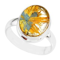 6.57cts natural golden star rutilated quartz 925 silver ring size 8 r86534