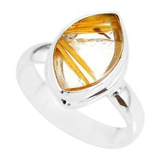 7.15cts natural golden star rutilated quartz 925 silver ring size 8 r86535