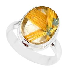 6.84cts natural golden star rutilated quartz 925 silver ring size 8 r86540
