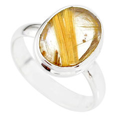 5.82cts natural golden star rutilated quartz 925 silver ring size 8 r86548