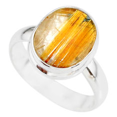 5.81cts natural golden star rutilated quartz 925 silver ring size 8 r86555