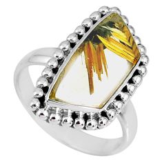 8.14cts natural golden star rutilated quartz 925 silver ring size 9 r60342