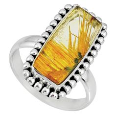 9.72cts natural golden star rutilated quartz 925 silver ring size 9 r60349