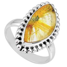 8.75cts natural golden star rutilated quartz fancy silver ring size 7.5 r60348