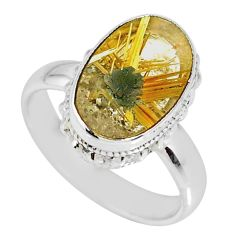 5.52cts natural golden star rutilated quartz oval 925 silver ring size 7 r60309