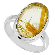 9.49cts natural golden star rutilated quartz oval silver ring size 7.5 r60284