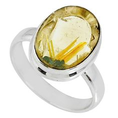 6.95cts natural golden star rutilated quartz oval silver ring size 7.5 r60289