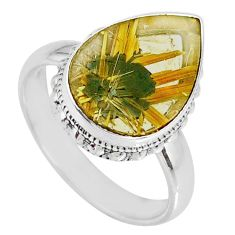 6.84cts natural golden star rutilated quartz pear silver ring size 8.5 r60325