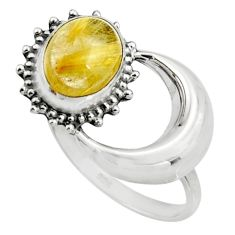 4.00cts natural golden tourmaline rutile 925 silver half moon ring size 7 r26751