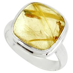 6.05cts natural golden tourmaline rutile 925 silver solitaire ring size 6 r39372