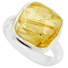 5.84cts natural golden tourmaline rutile 925 silver solitaire ring size 7 r39362