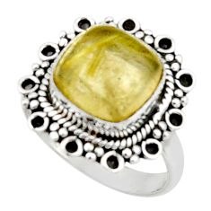 5.27cts natural golden tourmaline rutile 925 silver solitaire ring size 7 r52610