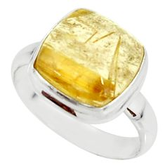 6.10cts natural golden tourmaline rutile 925 silver solitaire ring size 8 r39374