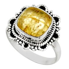 5.11cts natural golden tourmaline rutile 925 silver solitaire ring size 8 r52601