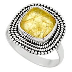 5.18cts natural golden tourmaline rutile 925 silver solitaire ring size 8 r52602