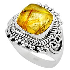 5.11cts natural golden tourmaline rutile 925 silver solitaire ring size 8 r53410