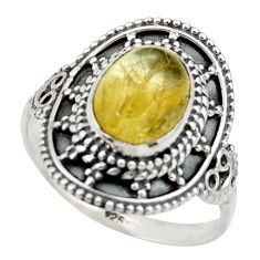 4.26cts natural golden tourmaline rutile 925 silver solitaire ring size 9 r40470