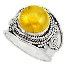 7.38cts natural golden tourmaline rutile 925 silver solitaire ring size 9 r41757