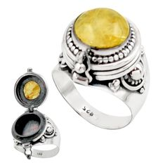 6.63cts natural golden tourmaline rutile silver poison box ring size 8 r41216