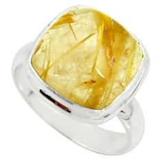 6.02cts natural golden tourmaline rutile silver solitaire ring size 5.5 r39371