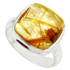 6.05cts natural golden tourmaline rutile silver solitaire ring size 5.5 r39379