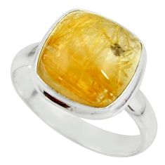 6.36cts natural golden tourmaline rutile silver solitaire ring size 8.5 r39380
