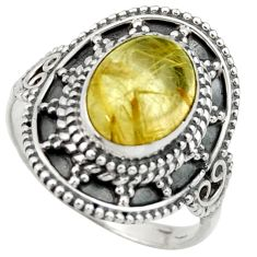 4.26cts natural golden tourmaline rutile silver solitaire ring size 7.5 r40471