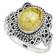 4.46cts natural golden tourmaline rutile silver solitaire ring size 8.5 r40488