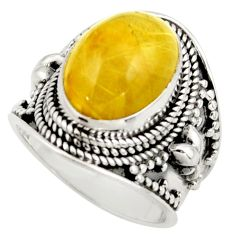 7.33cts natural golden tourmaline rutile silver solitaire ring size 6.5 r41754