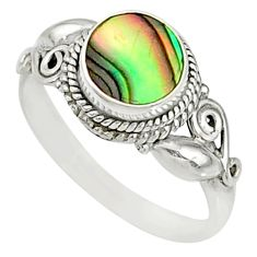 0.98cts natural green abalone paua 925 silver solitaire ring size 8 r76723