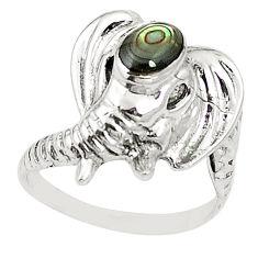 Natural green abalone paua seashell 925 silver elephant ring size 7.5 c11888