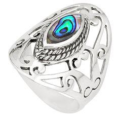 2.10cts natural green abalone paua seashell 925 silver ring size 7.5 c11965
