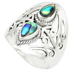 Natural green abalone paua seashell 925 silver ring size 8.5 c12784