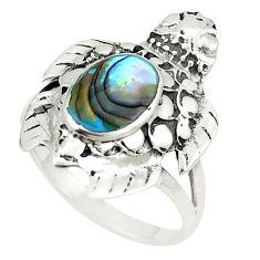 Natural green abalone paua seashell 925 silver ring size 7.5 c12823