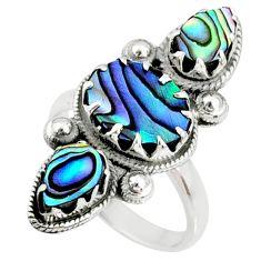 8.22cts natural green abalone paua seashell 925 silver ring size 7.5 r67350