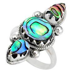 8.48cts natural green abalone paua seashell 925 silver ring size 7.5 r67351