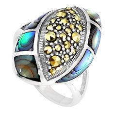 3.98cts natural green abalone paua seashell 925 silver ring size 6 c21439