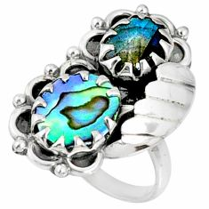 6.08cts natural green abalone paua seashell 925 silver ring size 8 r67324
