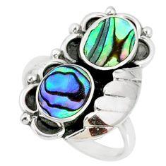 5.31cts natural green abalone paua seashell 925 silver ring size 9 r67326