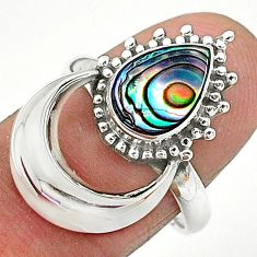 2.54cts natural green abalone paua seashell 925 silver ring size 7.5 t6415