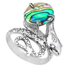 4.21cts natural green abalone paua seashell 925 silver snake ring size 7 t16030