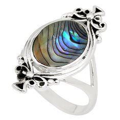 5.47gms natural green abalone paua seashell enamel 925 silver ring size 9 c12030