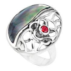 3.91cts natural green abalone paua seashell garnet 925 silver ring size 7 c12895