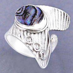 3.58cts natural green abalone paua seashell silver adjustable ring size 7 r54852