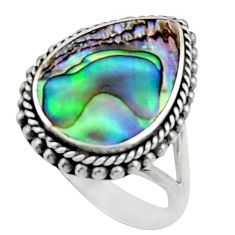 5.38cts natural green abalone paua seashell silver solitaire ring size 6 c9813
