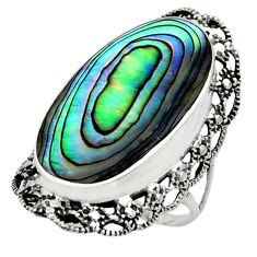 8.79cts natural green abalone paua seashell silver solitaire ring size 7 c9817