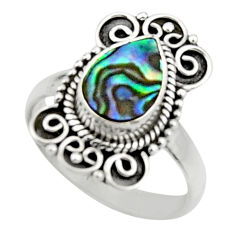 2.58cts natural green abalone paua seashell silver solitaire ring size 7 r52578