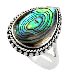 5.52cts natural green abalone paua seashell silver solitaire ring size 8 c9811