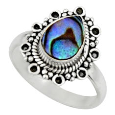 2.39cts natural green abalone paua seashell silver solitaire ring size 8 r52575