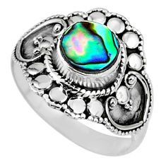 2.17cts natural green abalone paua seashell silver solitaire ring size 8 r61125